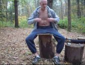 mature man wanks in the forest