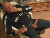 mture guy jerks a throbbing cock while drinking a beer