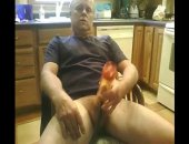 mature man using a cock pump and a vibrator