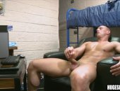 Big guys plays with his dick