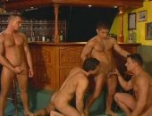 Muscled Orgy In Bar