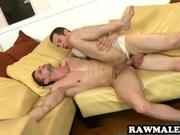 Hot stud lays back and gets fucked hard bareback by his cousins friend while at a family reunion.