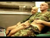 Two Mature Military Studs Subway Blowjob