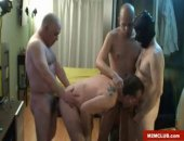 One young Daddy is gangbanged by three other Daddies.  Gangbanging Daddies like to fuck it out until it's raw.