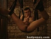 Bound Boy Jacks his Cock