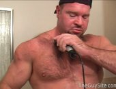 Beefy Bodybuilder Shaving Himself