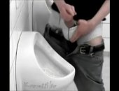 A monster cock jerks off in a public bathroom until he cums all over the urinal.  Another reason you should never touch toilets.