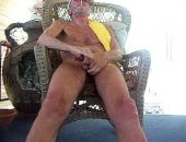 Old Grandpa takes time out of a boring day to enjoy the outdoors and jerk off his big cock.