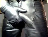 Jerking Cock with Leather Fun