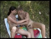 twink and a long haired stallion having oral fun