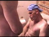 Mature Dad goes to the bathroom for some alone time.  Today his sons friend follows him in and sits him on the toilet to ride his cock.