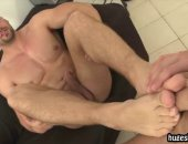 stallion strokes with his feet and takes a ig raw cock