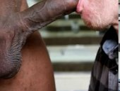 Huge vieny black cock gets sucked off by a mature white man with a craving for black dick.