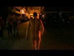 Naked Hunk Streaking Through Public