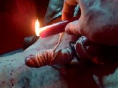 Spilling Hot Wax All Over his Tied Body