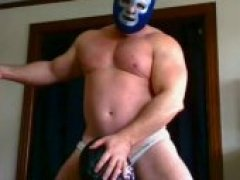 sucking beefy men in wrestling masks
