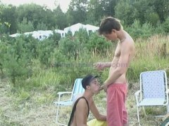 Young teen gives head for the first time.  Since it's his first time, he just asked for a cum facial.  From the facial he scoops it into his mouth realizing he loves the taste of cum.