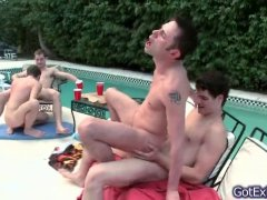 bareback 4some by the pool