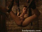 Bound Boy Jacks his Cock