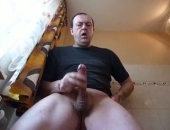 Amateur Older Daddy Choking his cock