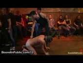 Blindfolded Leashed Gay Gags On Dick In Public Bar