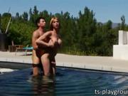 Shemale Danika Dreamz fucked by the pool